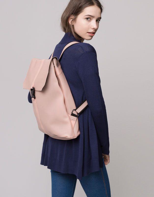 Pull&Bear - mulher - malas e mochilas - mochila impermeável - rosa pálido - 09821342-I2015
