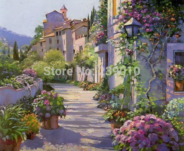 Style m diterran en paysage peinture l 39 huile sur toile for Art et maison figeac