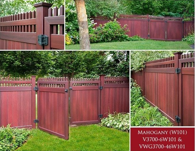 Grand Illusions Vinyl WoodBond Mahogany (W101) Fencing Panels. Woodgrain Vinyl Fence with all the beauty of a real wood fence and none of the maintenance!
