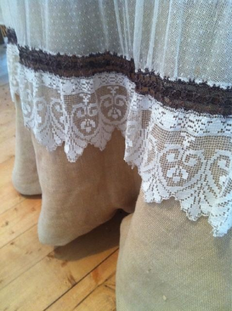 63 best images about curtins on pinterest lace shower for Burlap and lace bedroom