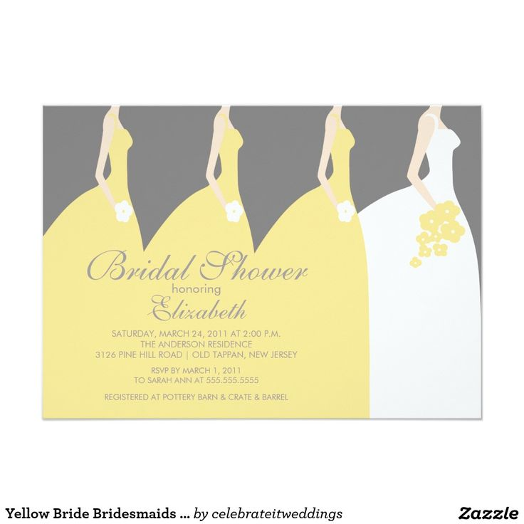 bridal shower invitation pictures%0A Yellow Bride Bridesmaids Bridal Shower Invitation