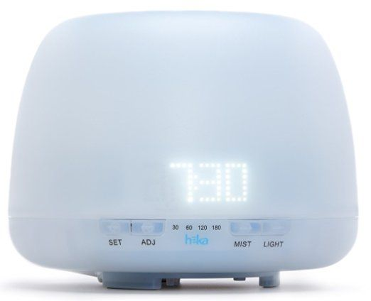 Heka Living Essential Oil Diffuser Humidifier - LED Clock With Adjustable Light - Ultrasonic Aromatherapy Humidifier - 400 ml - 4 Timer Settings - Safety Auto Off Functio