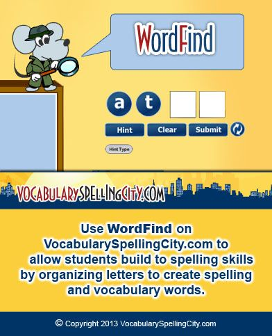 Use WordFind on VocabularySpellingCity.com to allow students build to spelling skills by organizing letters to create spelling and vocabulary words.
