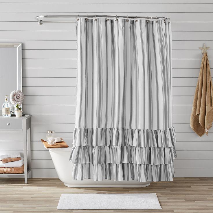Better homes gardens striped ruffle shower curtain 72