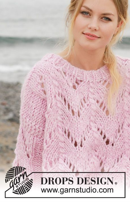 4ad81f47c585 Lost in Comfort   DROPS 188-5 - Knitted jumper with lace pattern and split  in the sides. Sizes S - XXXL. The piece is worked in 2 strands DROPS Air  and 1 ...