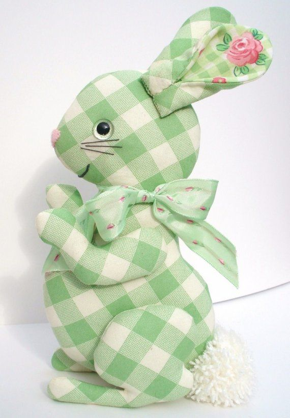 Green gingham bunny