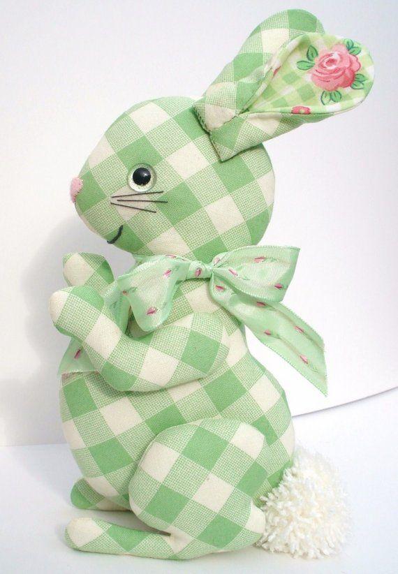 Green gingham bunny