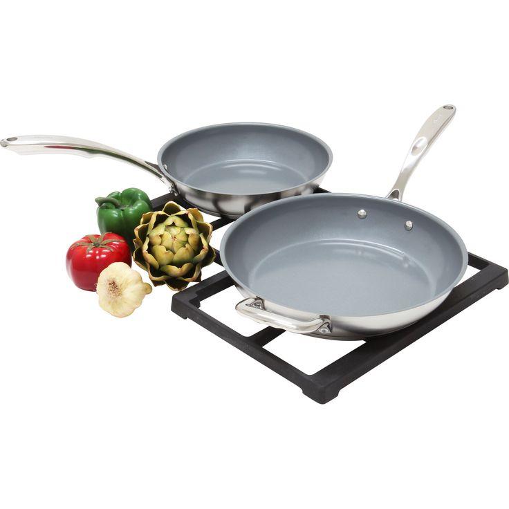 Chantal 2-piece Induction 21 Steel Ceramic Coated Fry Pan Set