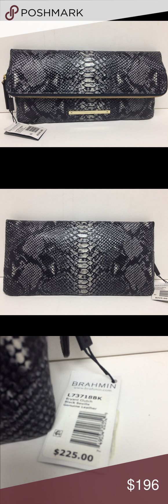 "NWT Brahmin Bryant Clutch Python L73718 Black Bryant Clutch in Embossed Leather Style #: L73718 BK  Color: Black Seville Lightweight & spacious.  Featured in black Seville (genuine leather embossed with a snake/python pattern in black, grey and white.)   Gold-tone hardware.   Brahmin-engraved plate on front.   Fold over zip clutch.   Brahmin's signature tan striped lining.   Two interior organizer pockets with pen pocket.   One interior zip pocket.   6.5"" H (when folded) x 13""L (approximate)…"