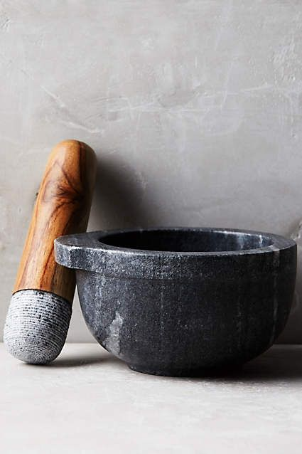 Marble Mortar & Pestle  Oh, I would so use that pestle as a fake microphone when jamming in the kitchen