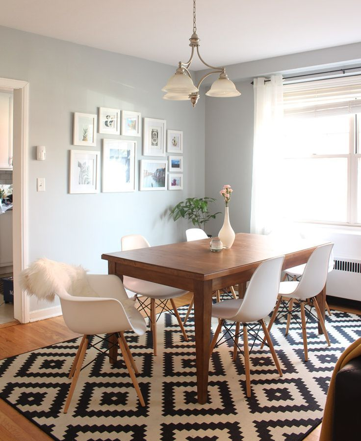 Dining room decor ideas - modern, transitional style.  Wood table with Eames-inspired modern seating. | An Evolving Condo Design | west elm