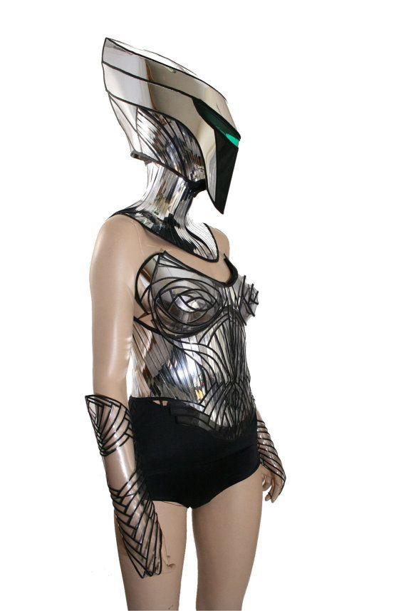 2 piece alien cyborg mask headpiece robot armor sci fi от divamp