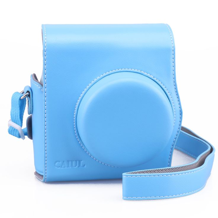 [Best Fujifilm Instax Mini 8 Case Ever] - CAIUL Comprehensive Protection Fuji Instax Mini 8 Case Carry Camera Bag with Soft PU Leather Material [ Film Count Show and Easy to Reload Film Design ] ( Blue )