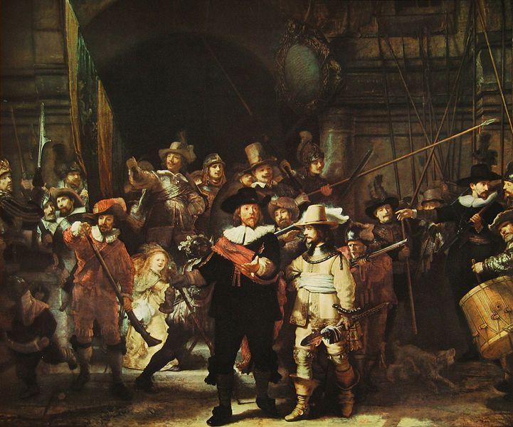 Rembrandt Bilder als Kunstdruck auf Leinwand kaufen schon ab 30,51 € Die Nachtwache (eigentlich: Die Kompanie Kapitäns Frans Banning Cocq und Leutnant Willem van Ruytenburgh bereit für den Aufbruch zum Ma…
