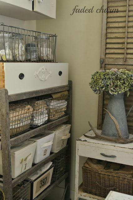 Love doing this. Organizing with fun vintage and found things instead of plastic container.