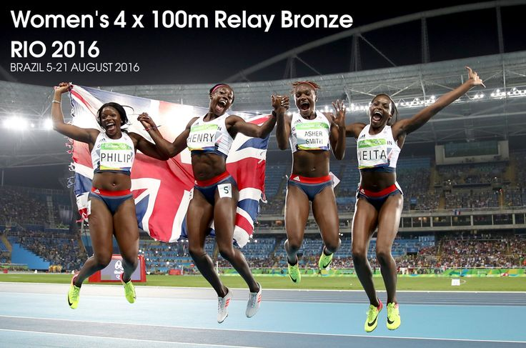 Great Britain won an Olympic medal in the women's 4x100m relay for the first time since 1984, claiming bronze as the United States retained their title.  Asha Philip, Desiree Henry, Dina Asher-Smith and Daryll Neita ran a British record of 41.77 seconds in Rio's Olympic Stadium.