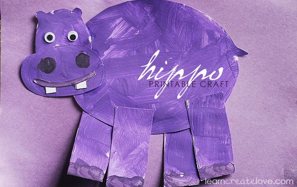 Printable hippo craft - letter H craft, you could do an animal for every letter fun!!
