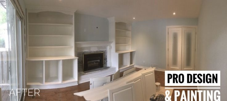 •Benjamin Moore, Cloud White Sprayed bookcases, doors & trim Using Sher-wood Lacquer  •Walls are painted in a beautiful Benjamin Colour, Ocean Air.  •Ceiling was painted with Emience by Sherwin Williams If you are looking to have any spraying or painting done, you know who to call PRO DESIGN & PAINTING  Check us out on  •Facebook •Instagram •Homestars