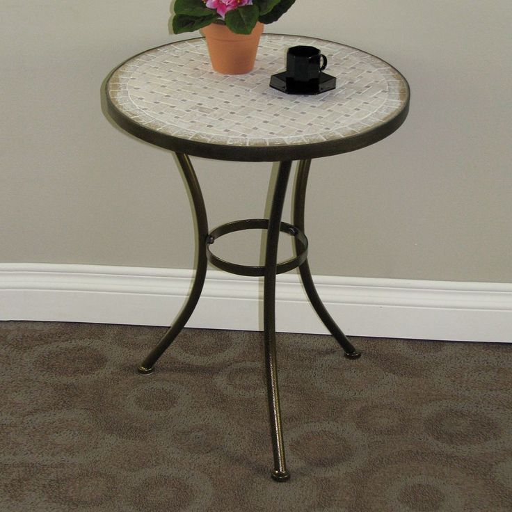 Travertine Round End Table, Brown