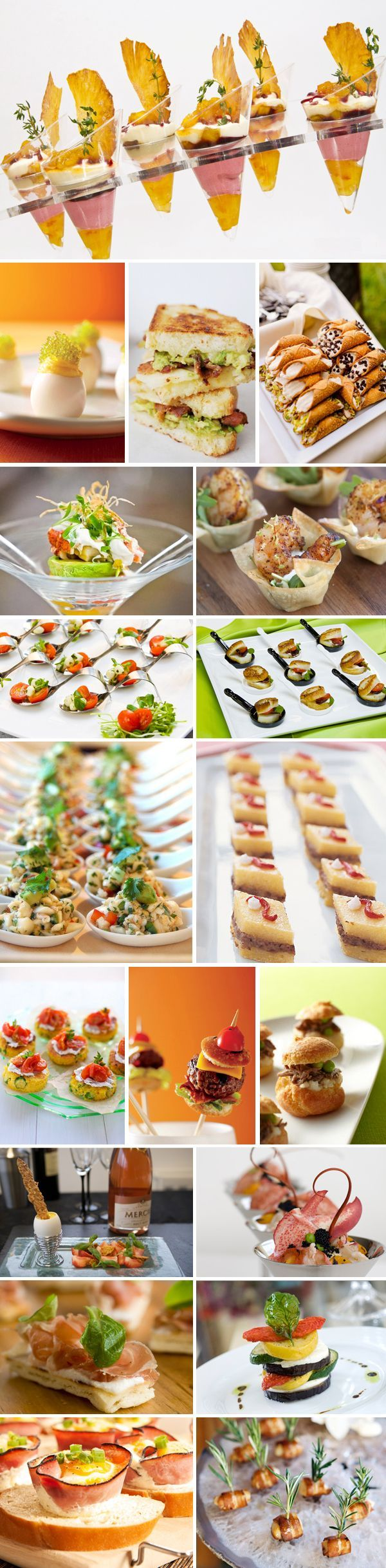 63 creative wedding foods - Unfortunately has no recipes, but has some great looking ideas!