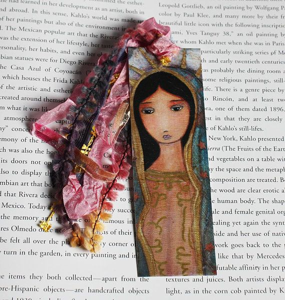 Virgen De Guadalupe Laminated Bookmark Handmade Original Art By