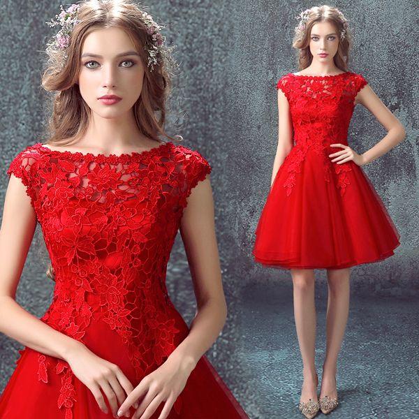 S 2016 nouvelle arrivée stock maternité, plus la taille de mariée robe de soirée robe courte graduation diplômé sexy rouge dentelle 7187