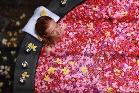 A relaxing Flower bath at Aroma Spa retreat Sanur Bali
