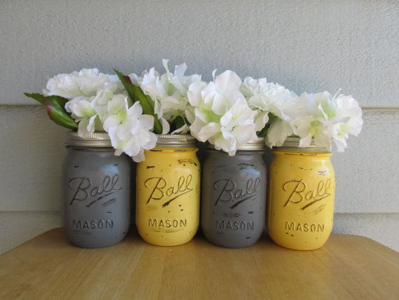 Painted And Distressed Ball Mason Jars Yellow Gray Set Of 4 Flower Vases Rustic Wedding Centerpieces