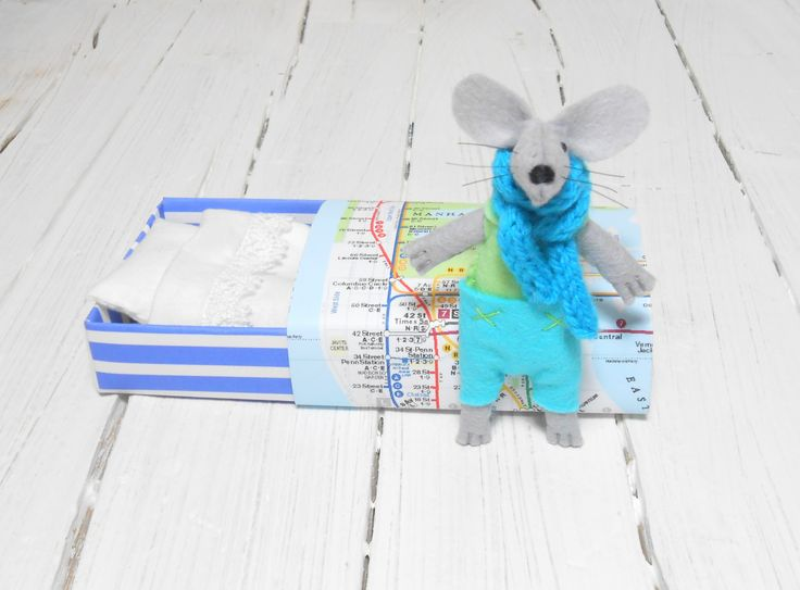 Baby shower gift pre teen gift felt stuffed animals pastel lime green light blue small mouse in matchbox manhattan metro map  miniature by atelierpompadour on Etsy