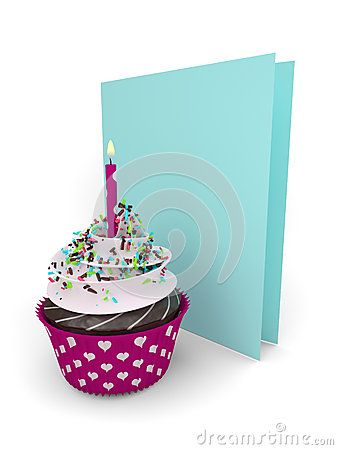 3d sweet cupcake with greetings card isolated on white background