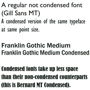 Condensed fonts are narrower versions of typefaces in a specific type family. It can be used to save space, but can make it more difficult to read.   source: http://desktoppub.about.com/od/glossary/g/Condensed-Fonts.htm