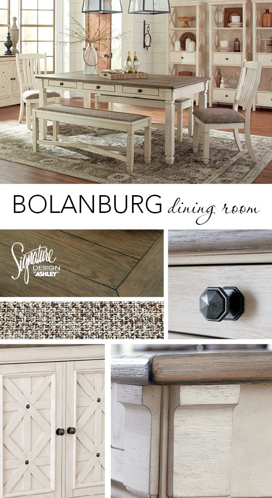 Casual with vintage-inspired style, taking your everyday dining to a new level is now so easy and effortless! The Bolanburg dining room is the perfect balance of a soft yet modern palette of color and quality. Signature Design by Ashley - Ashley Furniture - Dining Room Ideas - #DiningRooms #AshleyFurniture
