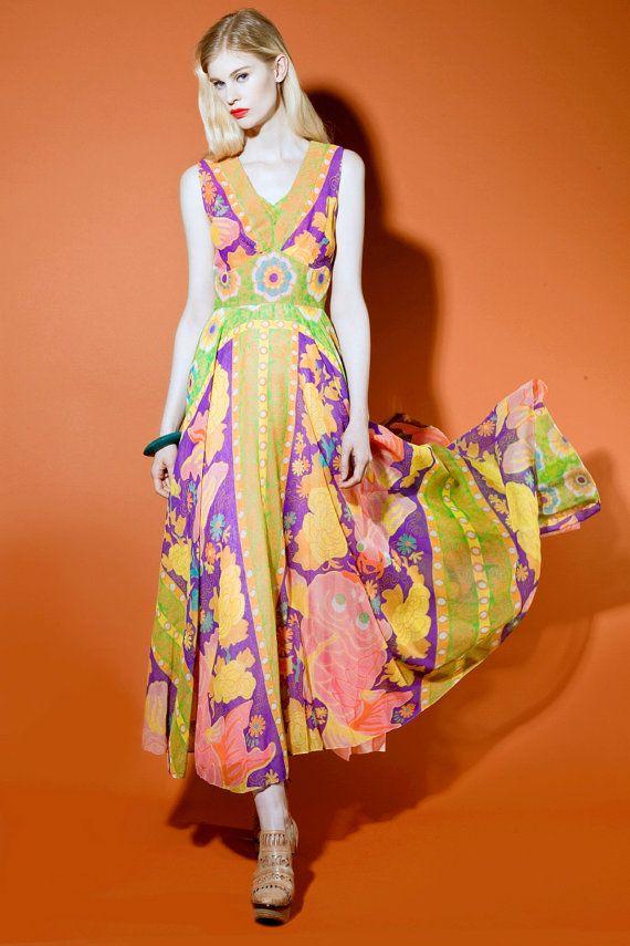 Vintage 1970s koi fish print swing skirt maxi dress v 1655 for Koi fish dress