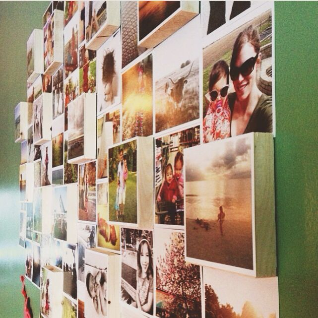 Persnickety 4x4 Instagram Gallery Wall. Adhere to 4x4x1 wood pieces for dimension. www.PersnicketyPrints.com