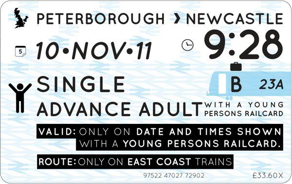 National Rail Train Ticket Re-design - RSA Awards 2012 by Richard Watters, via Behance