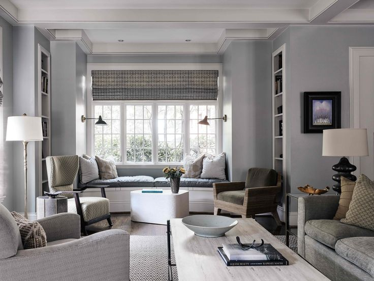 bay window featuring curved window seat builtin book shelves architect sam greeson