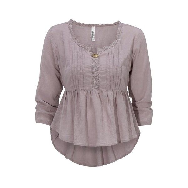 Sorrento Blouse Dark heather pink ❤ liked on Polyvore featuring tops, blouses, purple top, pink blouse, smocked top, purple blouse and smock top