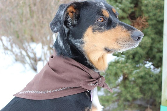 Plain Brown Bandanna with Detailed Stitching by MarysBigSheep, $12.00