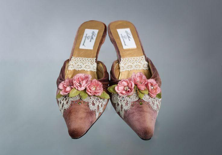Women's Velvet Shoes, Brown Velvet Mules, Marie Antoinette Shoes,18th Century Shoes, Marie Antoinette Costumes, Christmas Present, Size 7,5. by TheOnlyOneInTheWorld on Etsy https://www.etsy.com/listing/484124737/womens-velvet-shoes-brown-velvet-mules