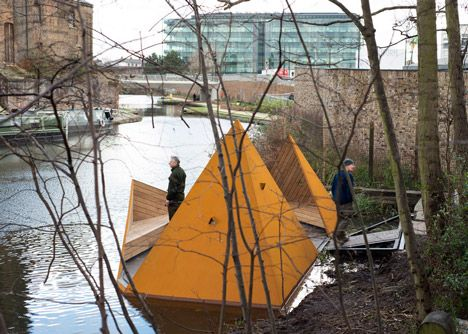 A floating platform offering visitors glimpses of canal-side wildlife in London