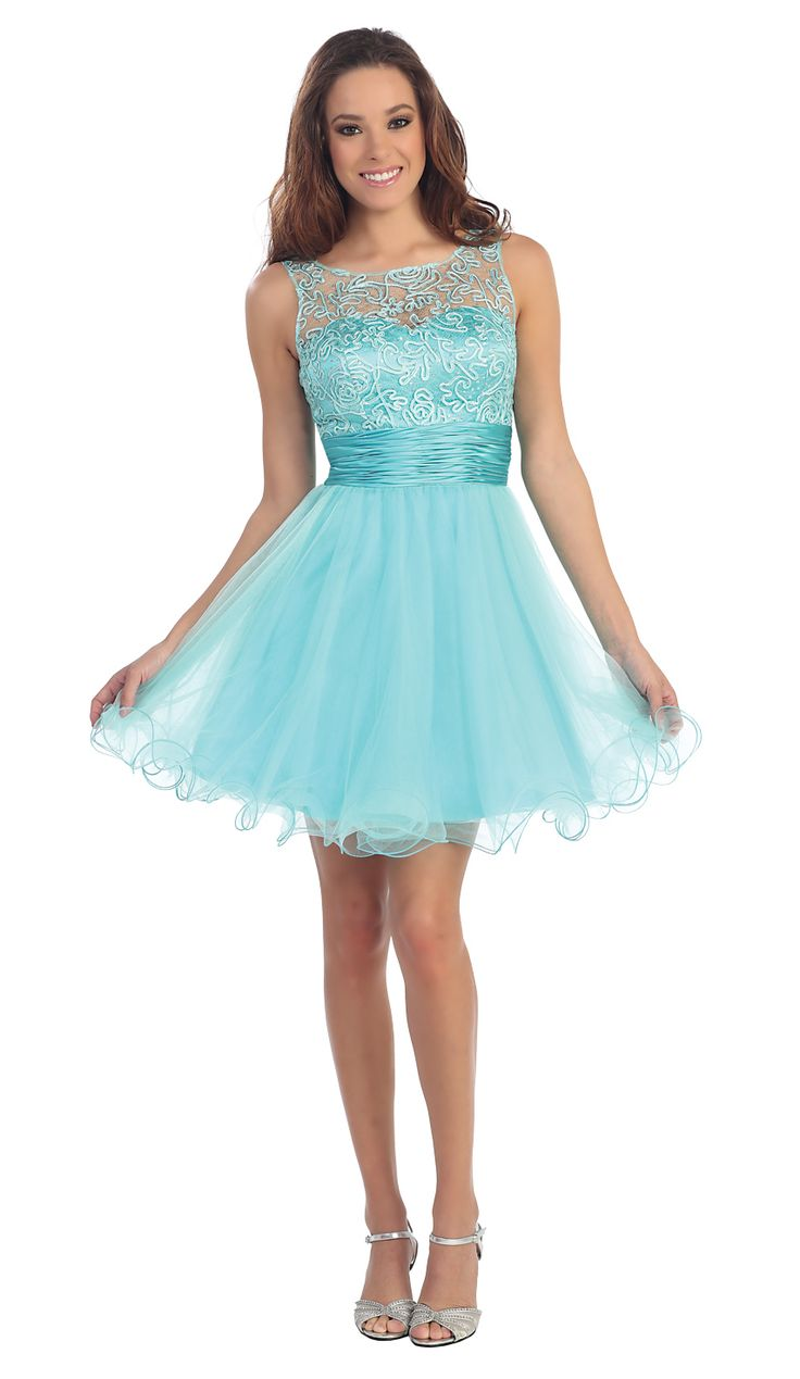 Patterned Sheer Neckline Tulle Short Party Prom Dress. Beautiful and modest, perfect for a young teen. $127.50  #promdress #shortformal #celebrate