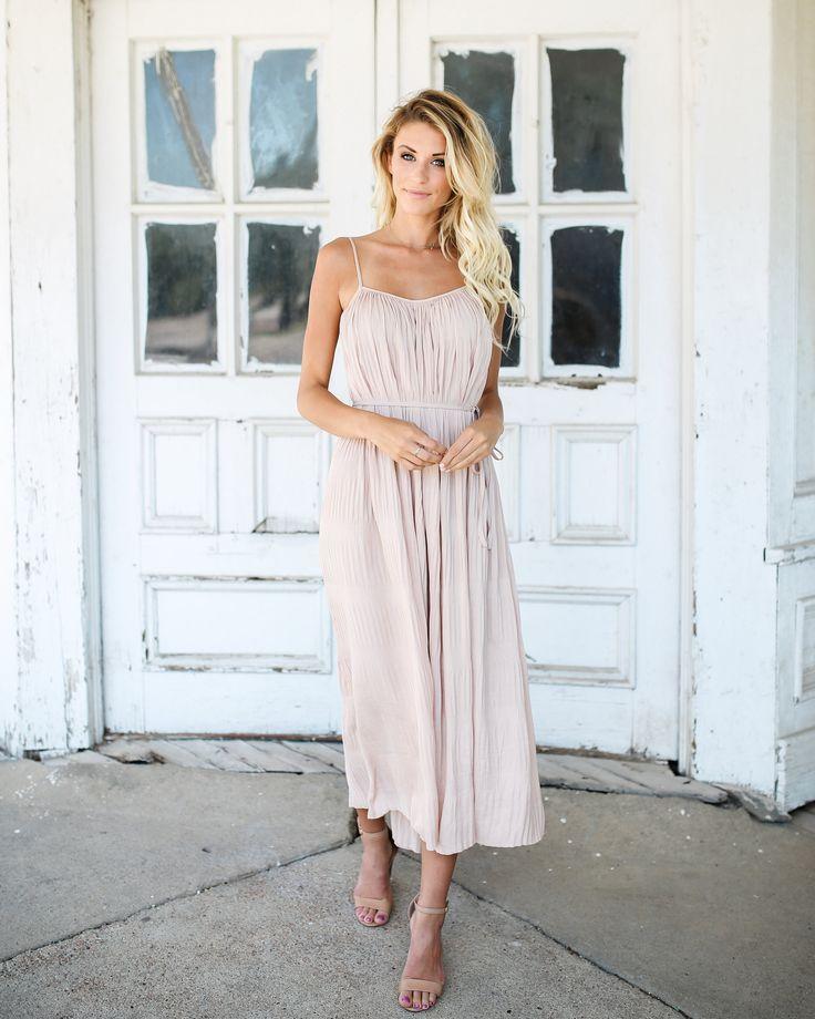 Redondo Pleated Midi Dress - Nude