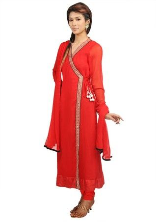 Red Angrakha Suit