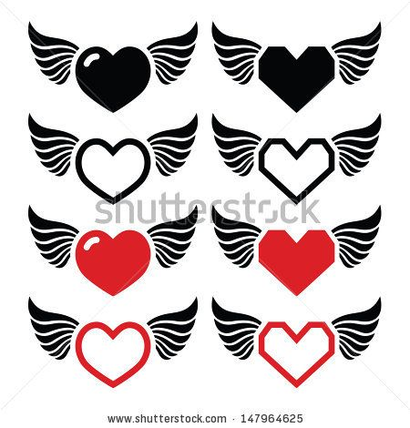 Heart with wings icons for Valentine's Day by RedKoala #love