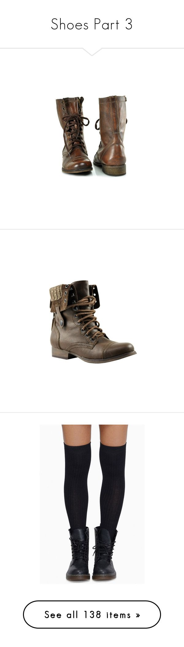 """Shoes Part 3"" by drskullz on Polyvore featuring shoes, boots, botas, zapatos, steve madden shoes, leather army boots, genuine leather shoes, cognac leather boots, cognac combat boots and ankle booties"