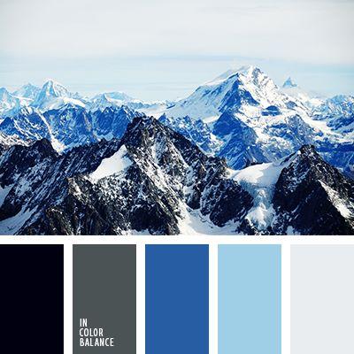бледно-голубой, голубой, графитовый серый, графитовый цвет, оттенки синего, оттенки холодных цветов, палитра холодных тонов, светло серый, серый, синий, темно серый, холодная гамма, цвет гор, черный, яркий синий.