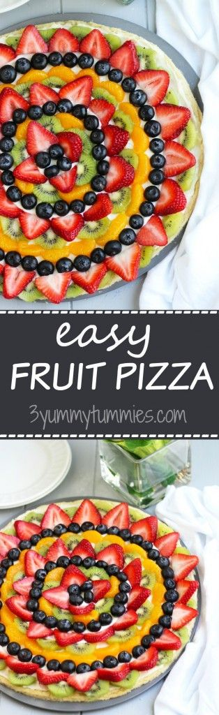 This colorful, Easy Fruit Pizza is perfect for Mother's Day brunch with refrigerated sugar cookie dough crust! #fruitpizza #dessert