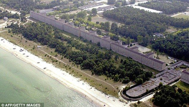A huge chunk of the largest holiday camp ever constructed by the Nazis has been sold for £2.2m (04/2012) Block One of the Colossus of Prora built by Hitler in 1930s along the lines of Butlins in the UK will be converted into a 400-bed luxury hotel & 400 apartments. It spans nearly 3 miles of coast of the Baltic island of Ruegen. The building, the single-biggest sold in post-war Germany, had a reserve price of £700,000, but telephone bidding at a Berlin auction sent the price soaring.