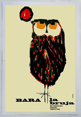 Cuban movie Poster 4 film Bara the WITCH.Owl modern art.La Lechuza Bruja.Lovely - http://hooligansentertainment.com/2014/01/28/cuban-movie-poster-4-film-bara-the-witch-owl-modern-art-la-lechuza-bruja-lovely/