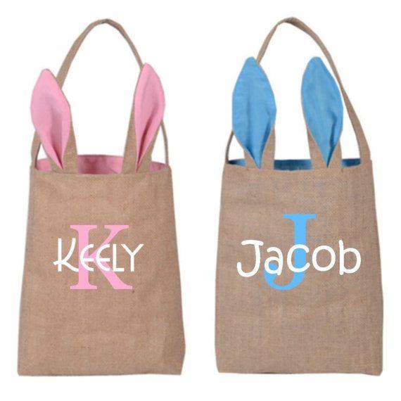 Personalized Easter Bunny Bag Pink Or Blue Basket Kids
